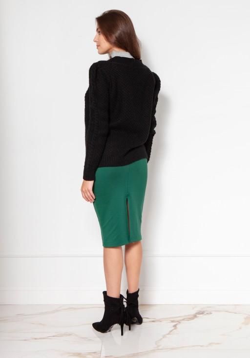 Sweter na guziki z bufiastymi rękawami SWE134 czarny