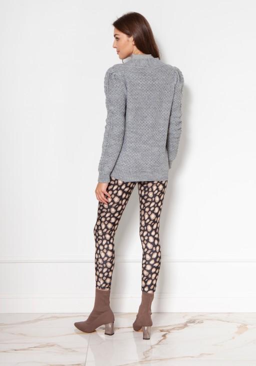 Sweter na guziki z bufiastymi rękawami SWE134 szary