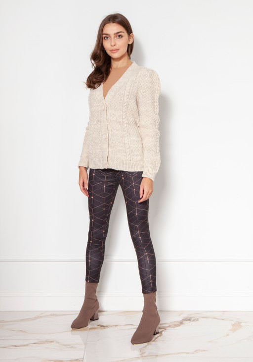 Buttoned sweater with puff sleeves SWE134 beige