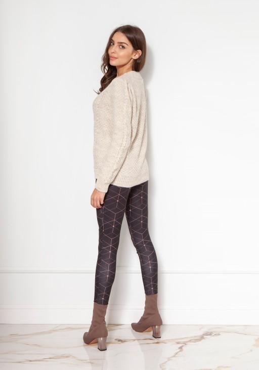 Sweter na guziki z bufiastymi rękawami SWE134 beż