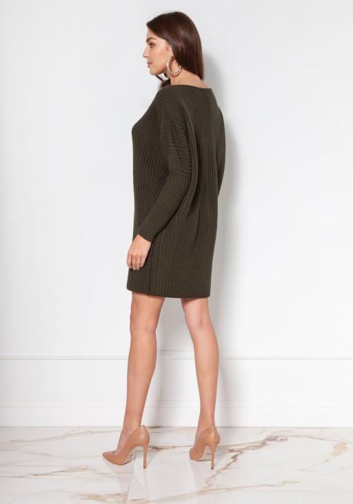 Oversize'owy sweter - tunika SWE135 khaki