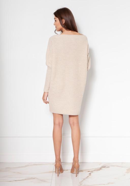 Oversize'ovy sweter - tunika SWE135 beż