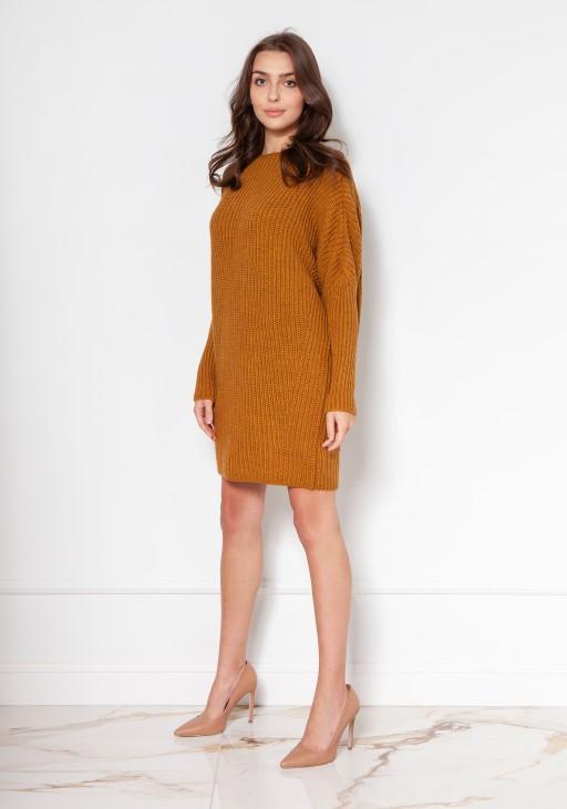 Oversize'ovy sweter - tunika SWE135 musztarda