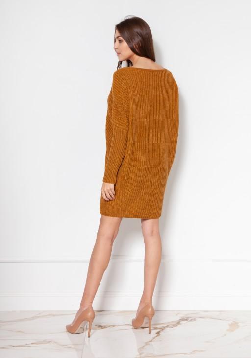 Oversize'owy sweter - tunika SWE135 musztarda
