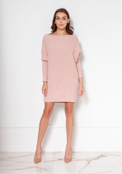 Oversize'ovy sweter - tunika SWE135 róż