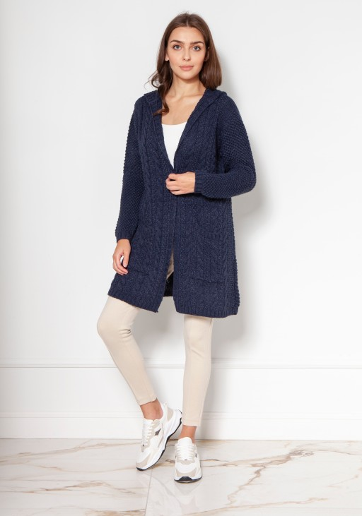 Long cardigan with a hood and pockets SWE138 navy