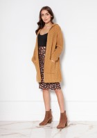 Long cardigan with a hood and pockets SWE138 beige
