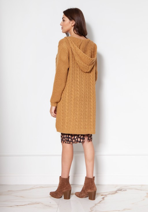 Long cardigan with a hood and pockets SWE138 mustard