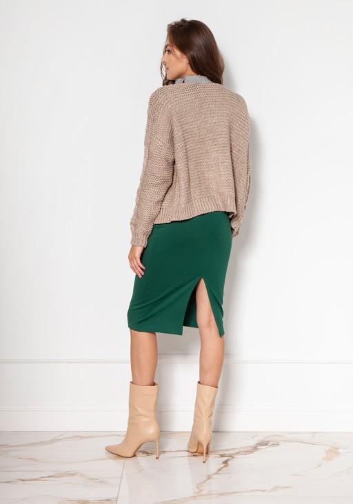 Sweter bez zapięcia z warkoczami SWE132 beż