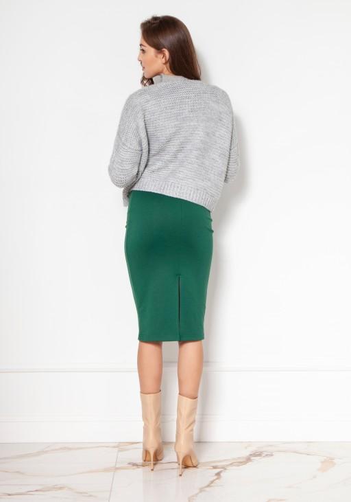 Sweter bez zapięcia z warkoczami SWE132 szary
