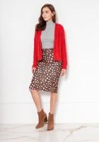 Sweter bez zapięcia z warkoczami SWE132 czerwony