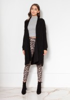Swetrowy płaszcz z kieszeniami SWE139 czarny