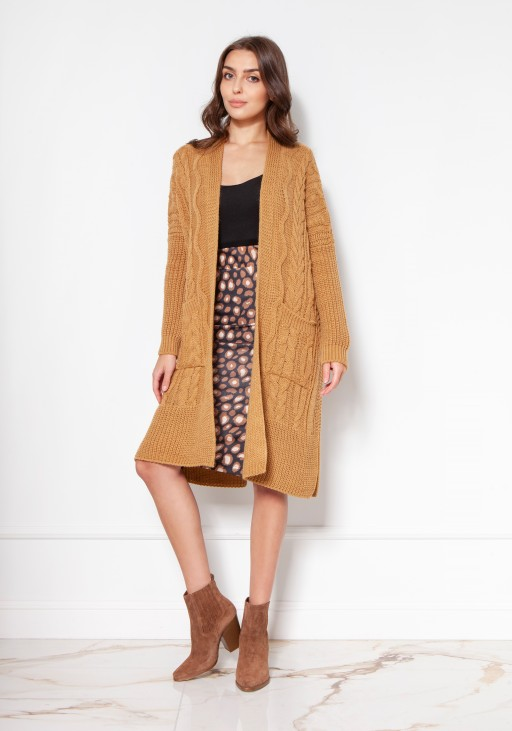 Sweater coat with pockets SWE139 mustard