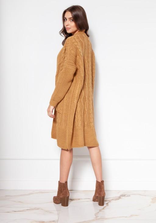 Swetrowy płaszcz z kieszeniami SWE139 musztarda