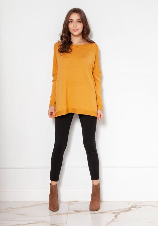 Oversize'owy sweter z wiskozy SWE133 musztarda