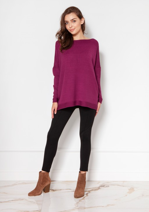 Oversized viscose sweater SWE133 burgundy