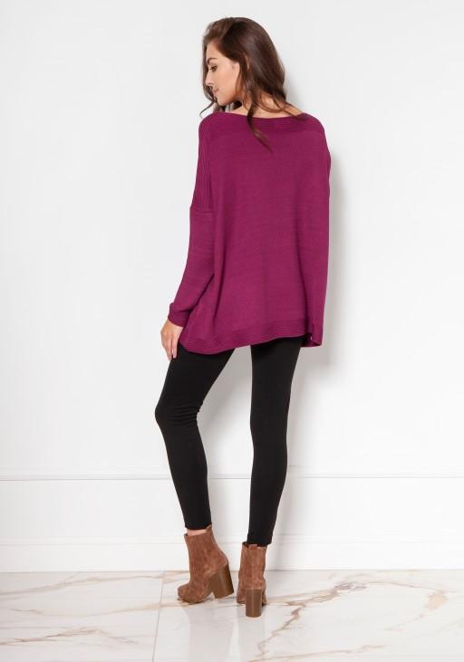 Oversize'owy sweter z wiskozy SWE133 bordo