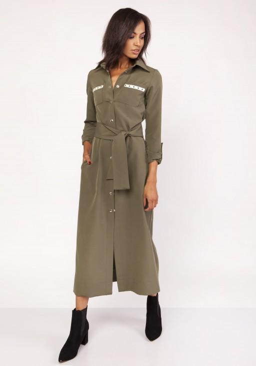 Długa sukienka w stylu militarnym, SUK157 khaki