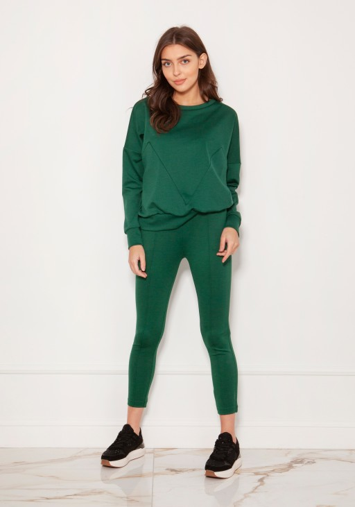 Spodnie cygaretki w kant SD123 zielone
