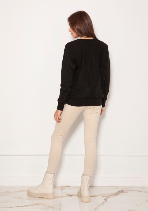 Loose sweatshirt with geometric cuts BLU148 black
