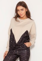 Loose sweatshirt with geometric cuts BLU148 pattern