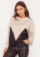 Luźna bluza z geometrycznymi cięciami BLU148 wzór