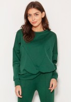 Loose sweatshirt with geometric cuts BLU148 green