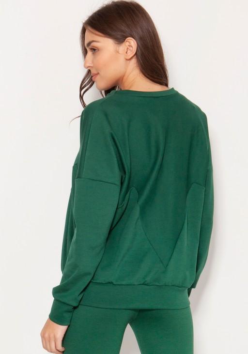 Luźna bluza z geometrycznymi cięciami BLU148 zielony