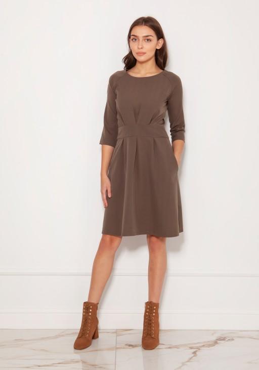 Sukienka z rozkloszowanym dołem, SUK122 khaki
