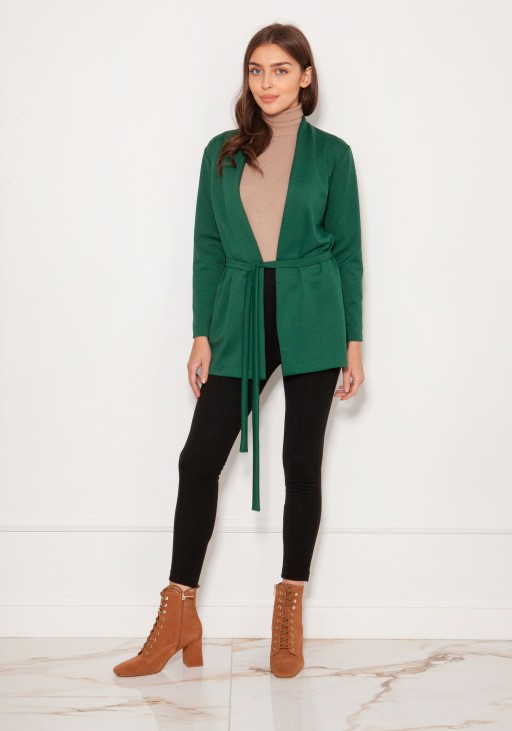 Minimalistic jacket tied at the waist ZA120 green