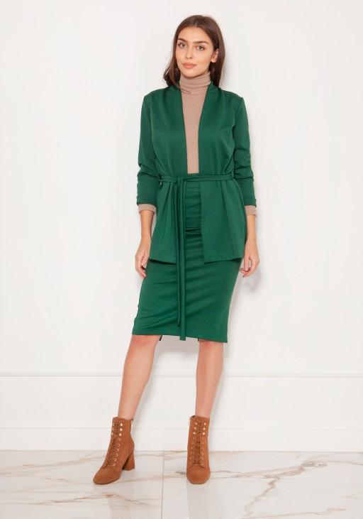 Minimalistic jacket tied at the waist ZA120 green