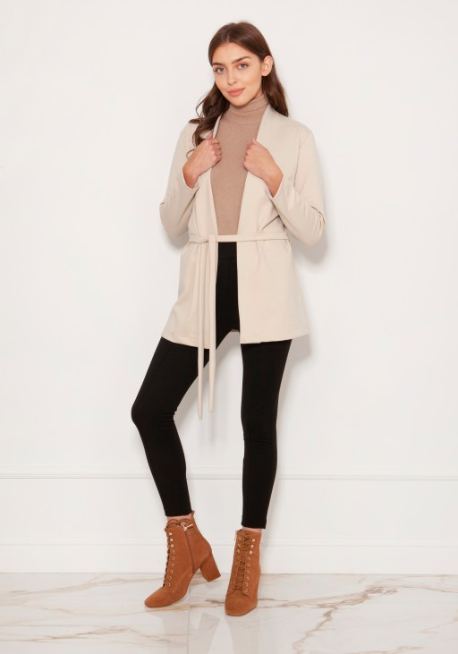 Minimalistic jacket tied at the waist ZA120 beige