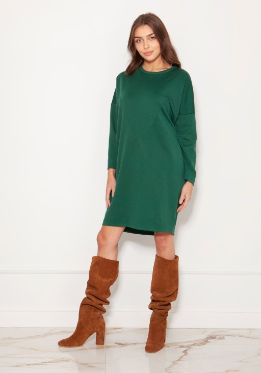 Oversized sweatshirt dress SUK191 green