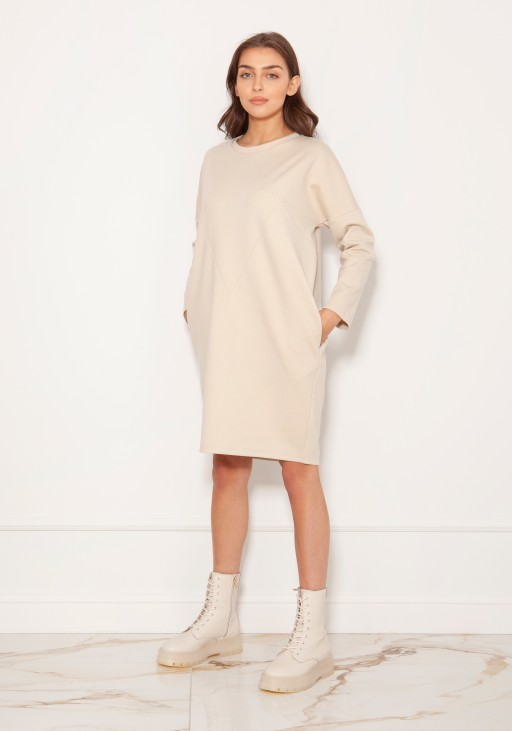 Oversized sweatshirt dress SUK191 beige