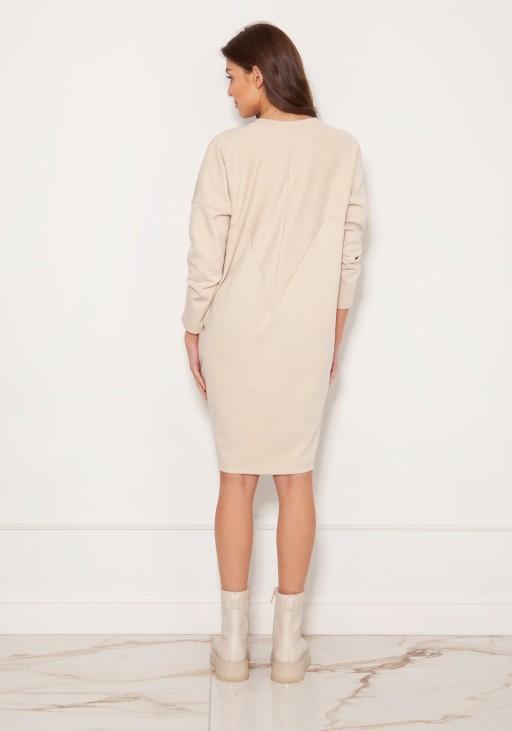 Oversize'owa sukienka w typie bluzy SUK191 beż