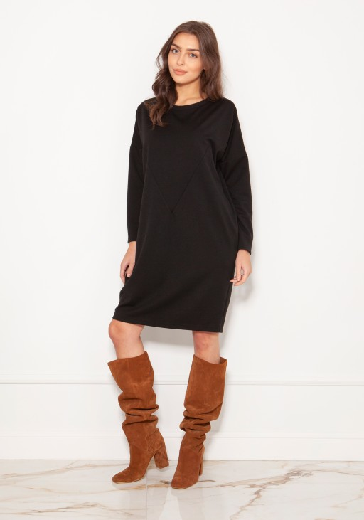 Oversized sweatshirt dress SUK191 black