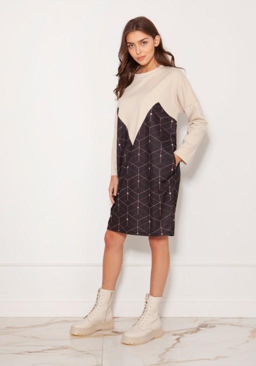 Oversized sweatshirt dress SUK191 pattern