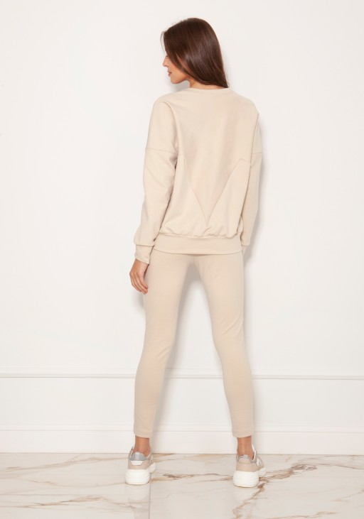 Loose sweatshirt with geometric cuts BLU148 beige