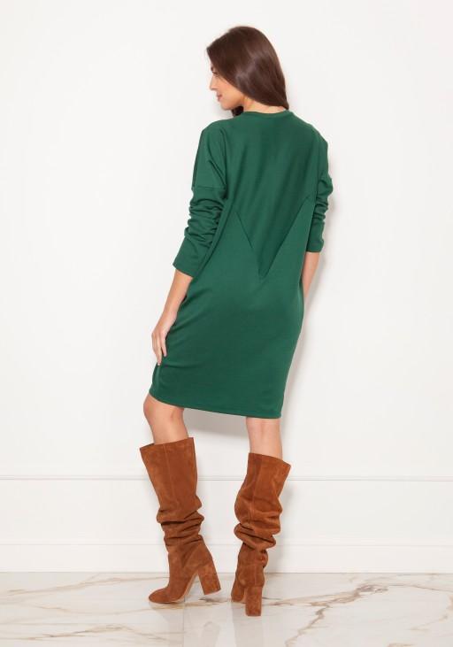 Oversize'owa sukienka w typie bluzy SUK191 zielona