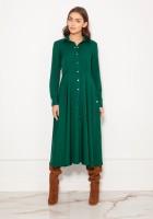 Długa, koszulowa sukienka na napy SUK190 zielona