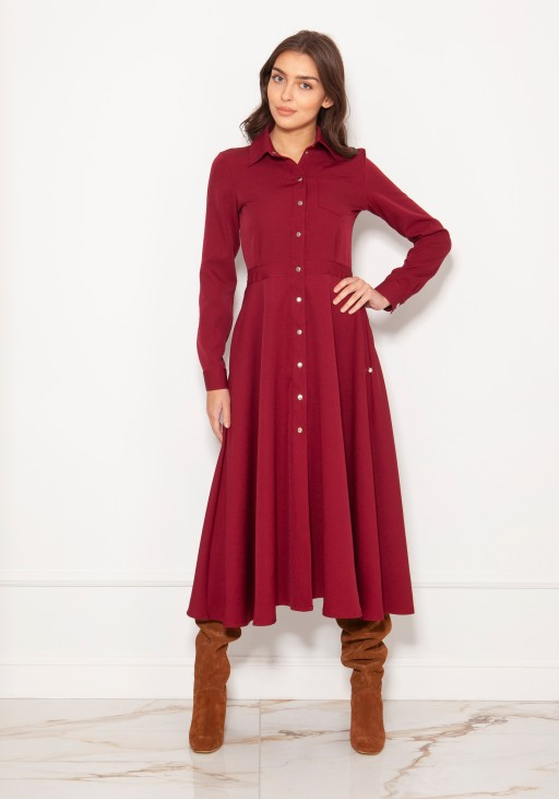 Long, shirt dress with studs SUK190 burgundy