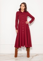 Długa, koszulowa sukienka na napy SUK190 bordo