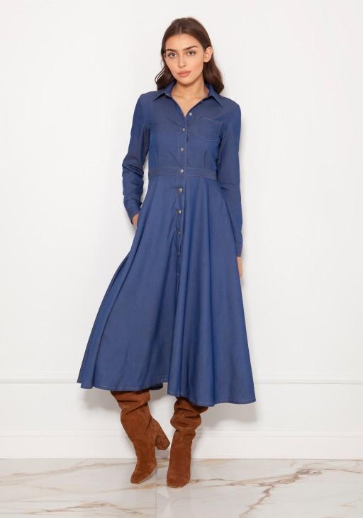 Długa, koszulowa sukienka na napy SUK190 jeans