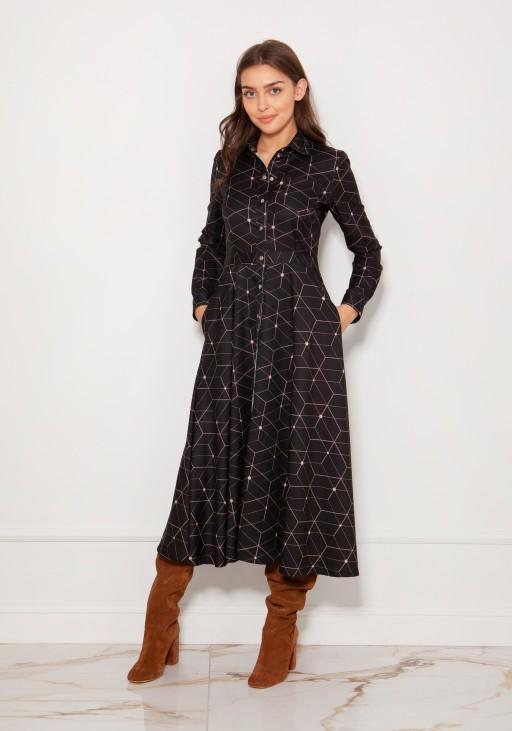 Long, shirt dress with studs SUK190 pattern