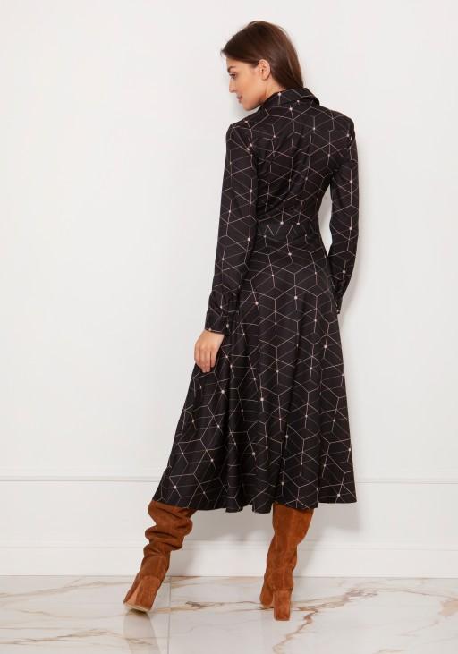 Długa, koszulowa sukienka na napy SUK190 wzór