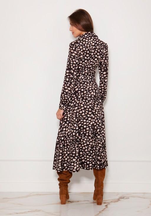 Długa, koszulowa sukienka na napy SUK190 panterka