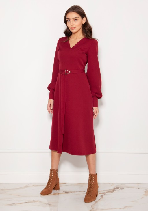 Dress with V-neck and spectacular sleeves SUK189 burgundy