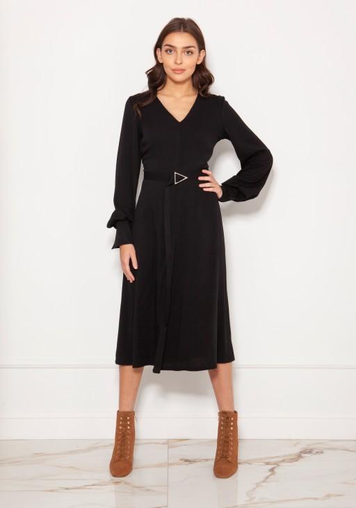 Dress with V-neck and spectacular sleeves SUK189 burgundy
