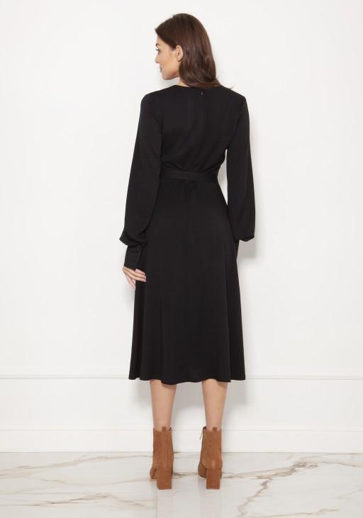 Sukienka z dekoltem V i efektownymi rękawami SUK189 czarny