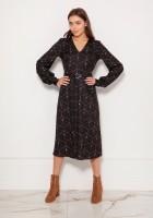 Sukienka z dekoltem V i efektownymi rękawami SUK189 wzór